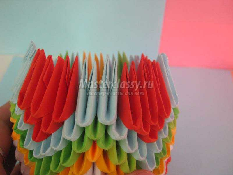 оригами из модулей павлин