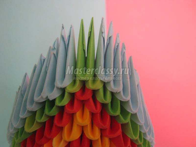 павлин оригами из модулей