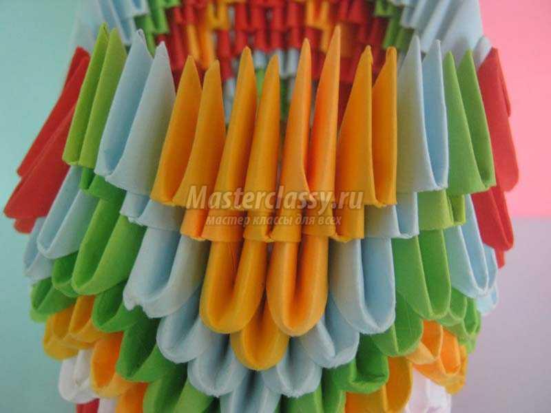 пошаговое модульное оригами павлин