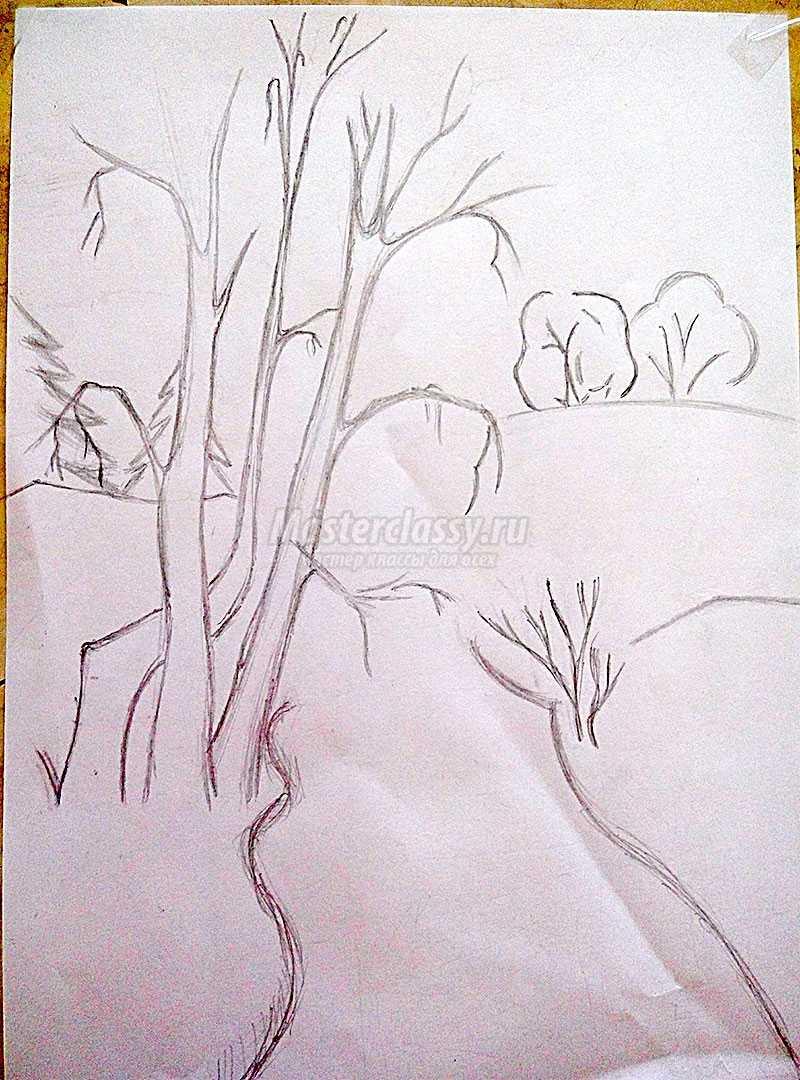 рисунки на тему осень карандашом