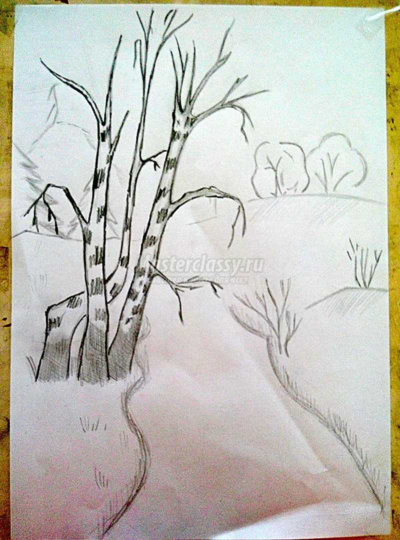 Рисовать осенний пейзаж карандашами