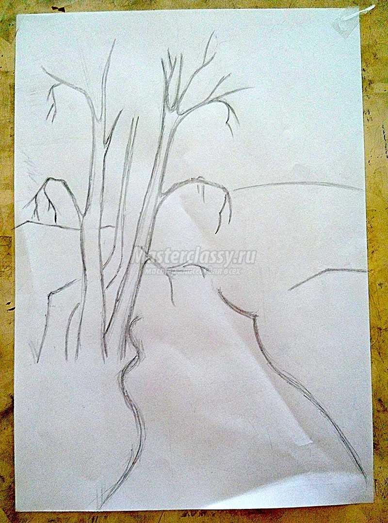 рисунок осень карандашом