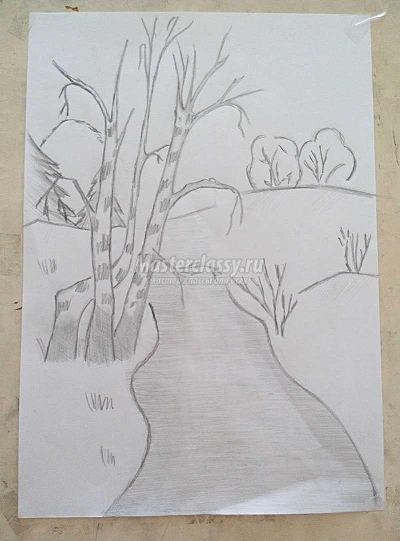 рисунок осени карандашом для начинающих