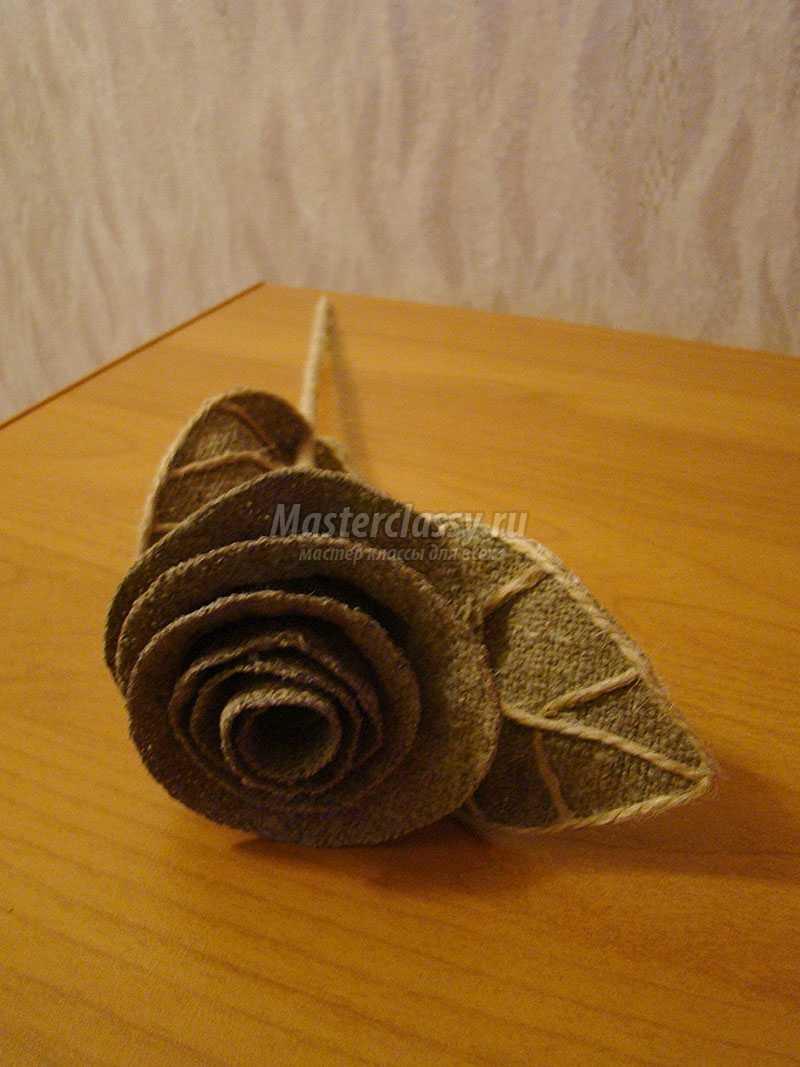 Розы из мешковины мастер класс с пошаговым