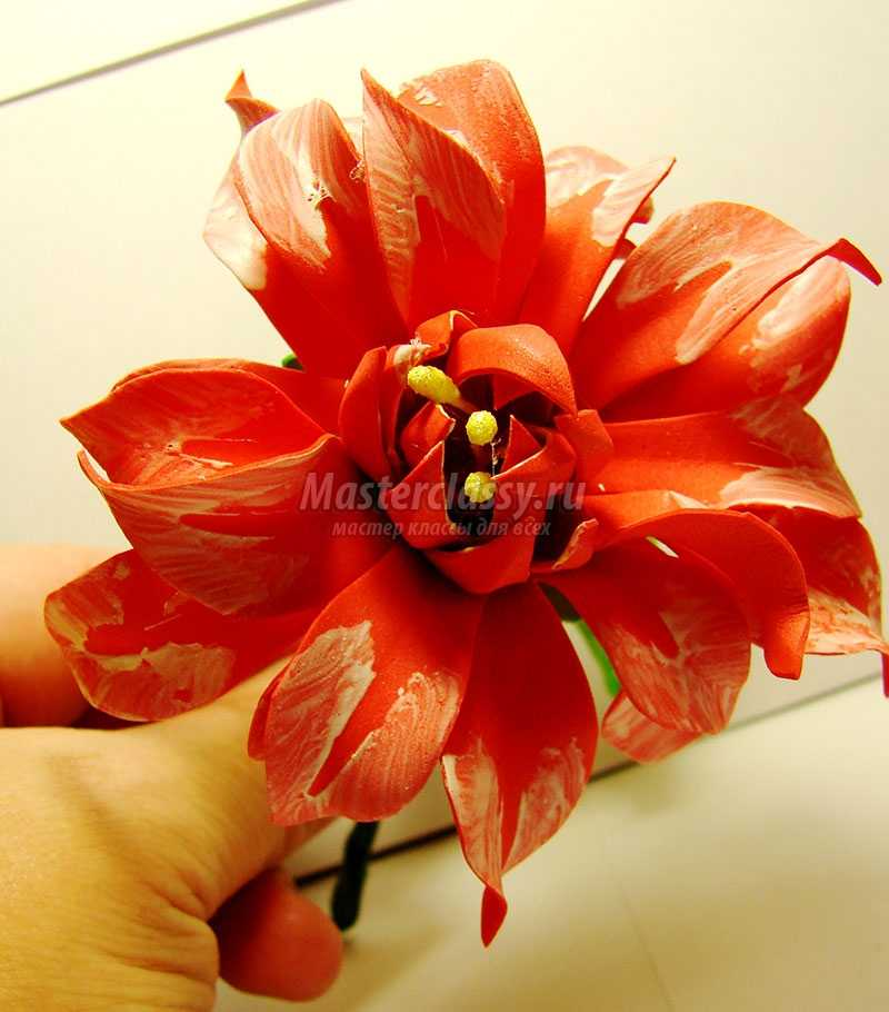 Цветок георгин из фоамирана мастер класс 2