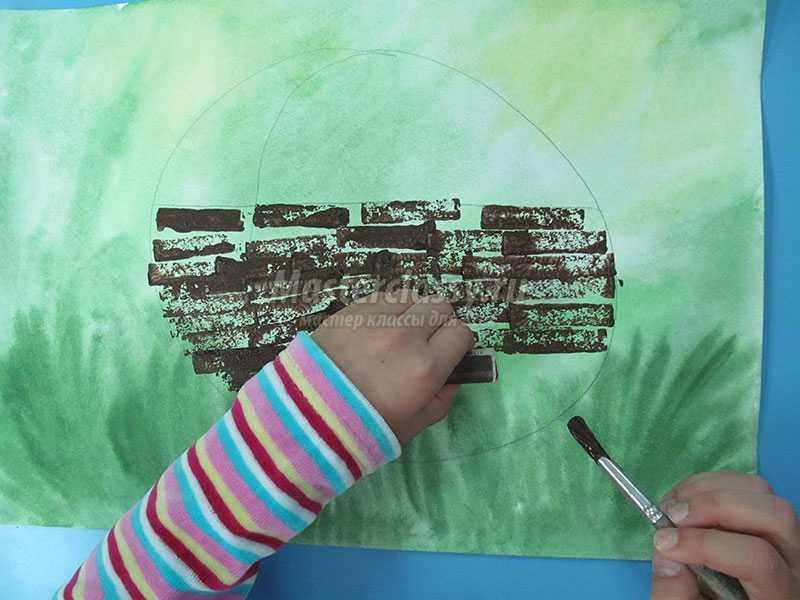 Рисуем корзину гуашью