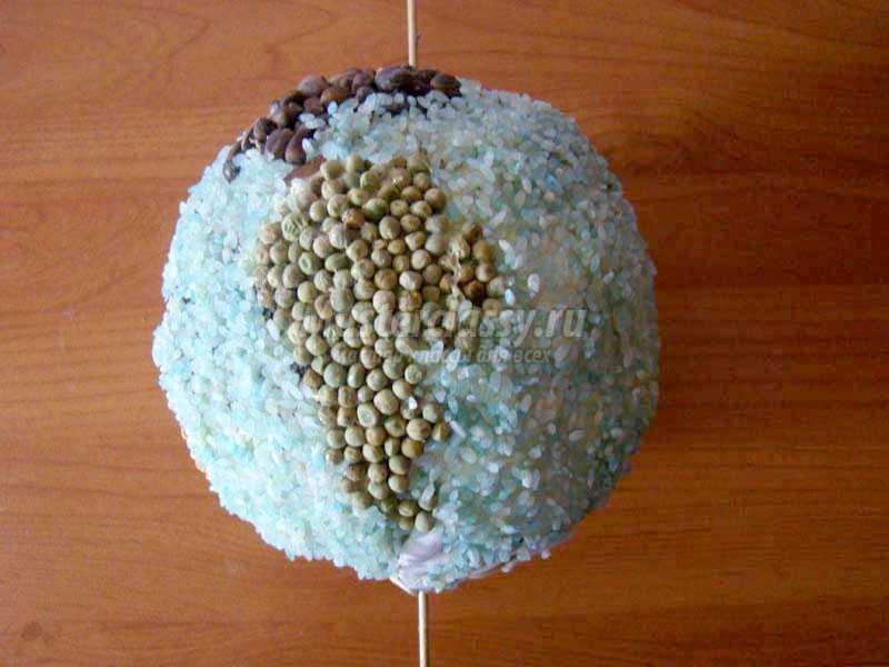 Поделка глобус из макарон 81