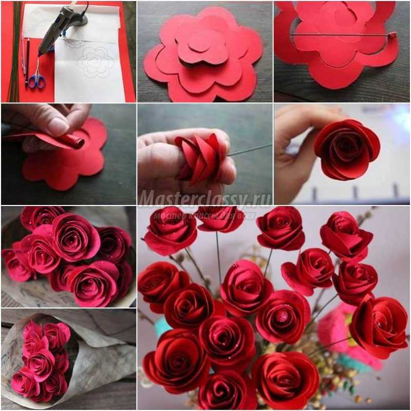 розы из бумаги мастер класс