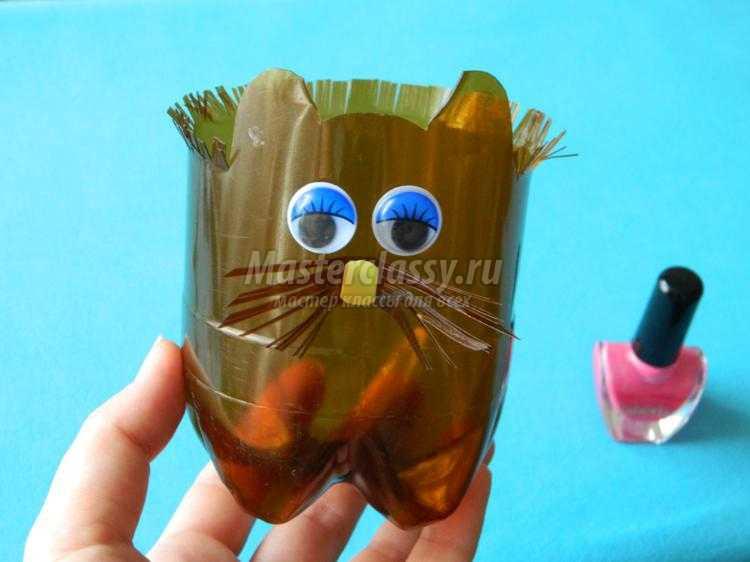 Цветочный горшок из пластмассовой бутылки. Кот. Мастер-класс