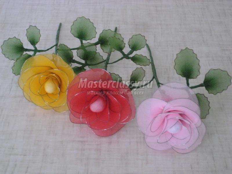 Розы из капрона своими руками мастер класс фото 26