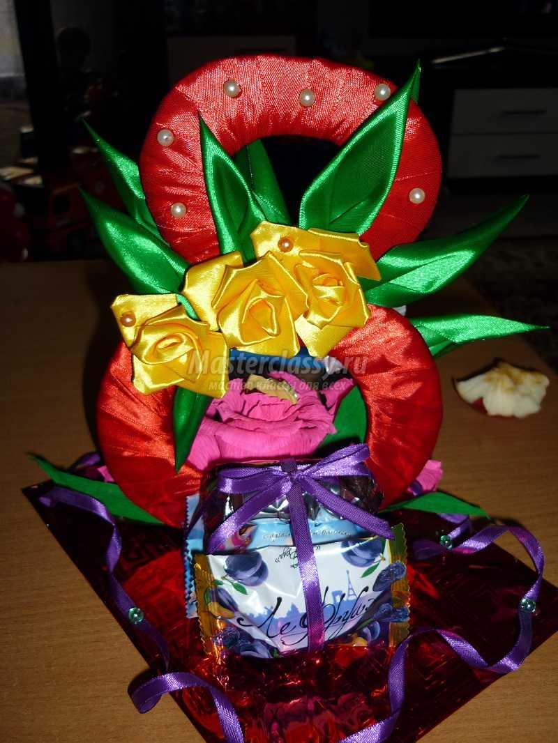 Подарок из атласных лент 14