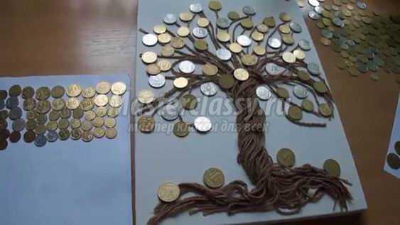 Делаем денежное дерево из монет своими руками