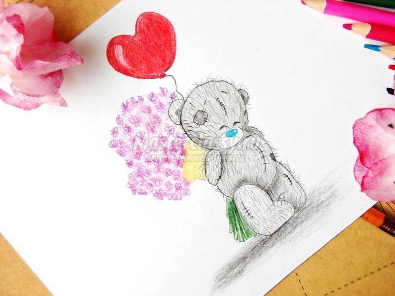 нарисовать мишку тедди поэтапно карандашом