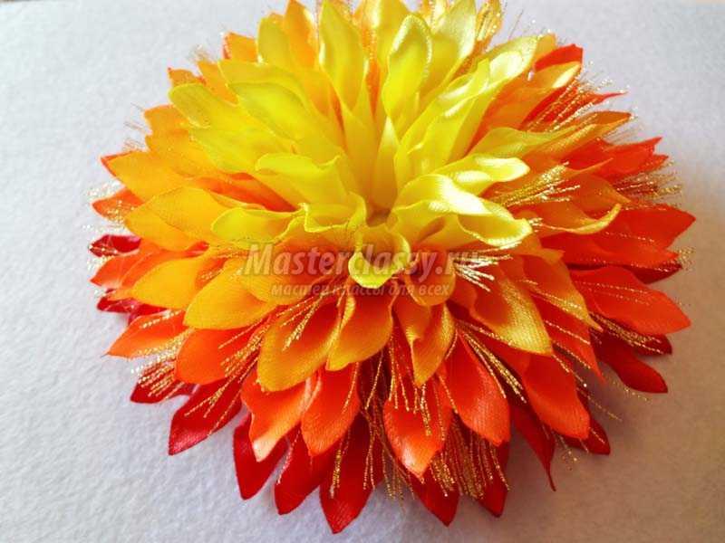 Цветы из лент хризантемы 50