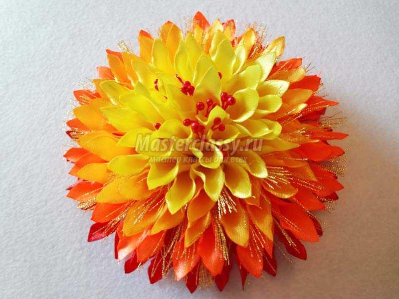 хризантема из атласных лент своими руками пошаговая инструкция
