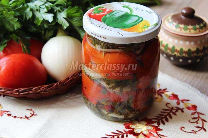 Салат на зиму из лука помидор и огурцов