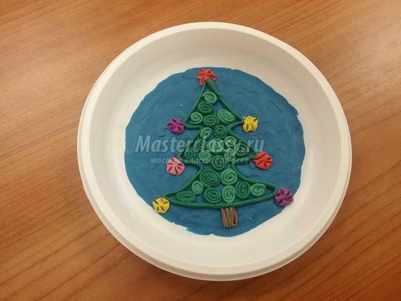 Панно из пластилина «Рождественская Елка». Мастер-класс с фото