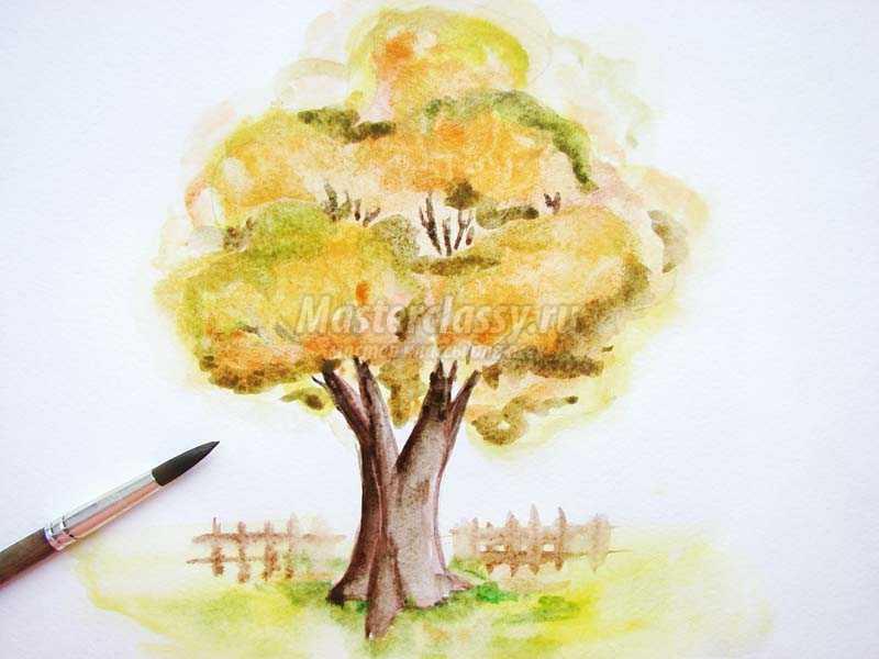 рисунки осеннего дерева красками