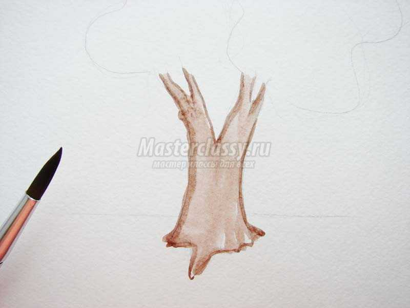 рисование осенних деревьев
