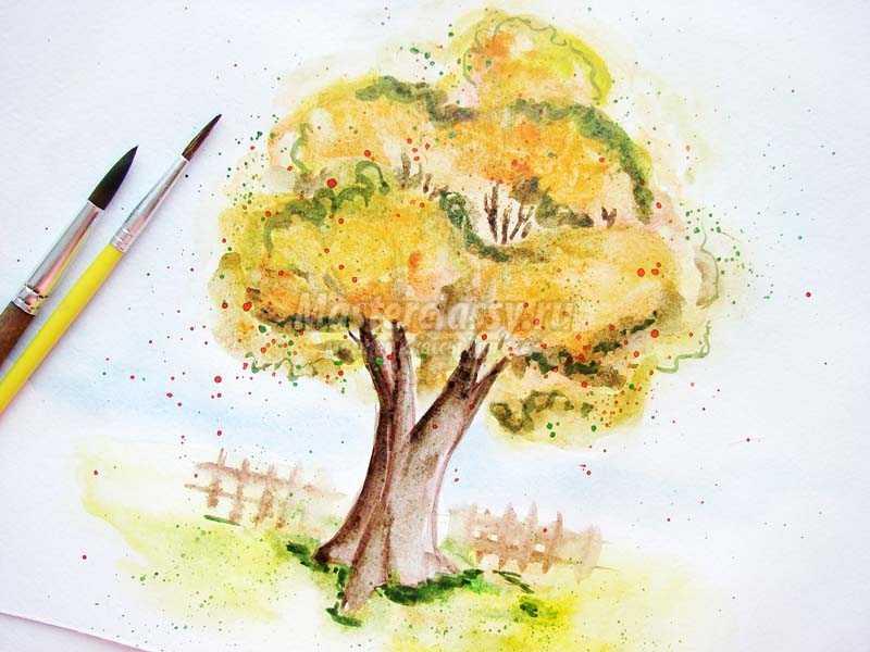 рисунки осеннего дерева карандашом