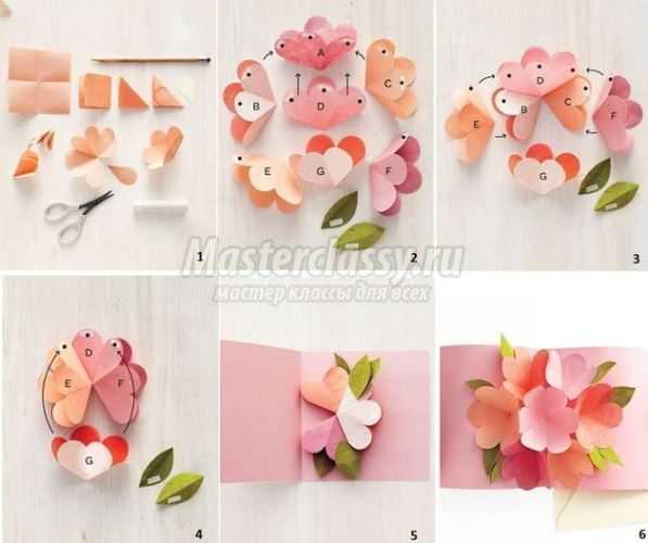 Объемные открытки с цветами своими руками схемы