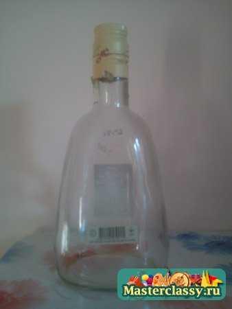 Декупаж бутылки. Бархатная кожа