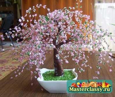 Деревья и цветы из бисера схемы