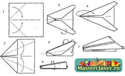 Самолетик из оригами схема