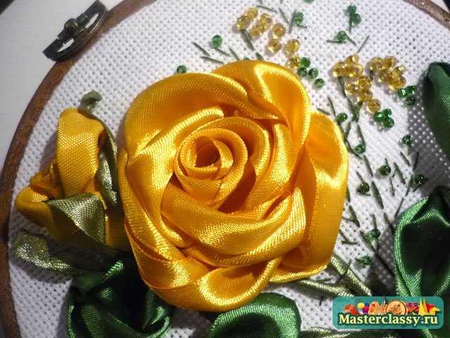 Вышивка лентами розы желтые