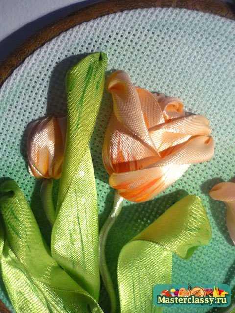 Вышивка лентами. Тюльпаны мастер класс