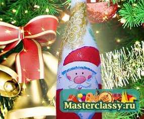 Новогодний декупаж. Бутылка Дед Мороз. Мастер класс