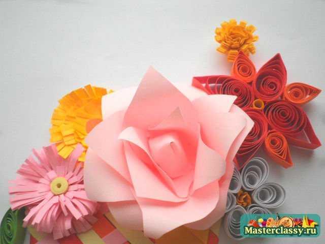 корзина с цветами квиллинг