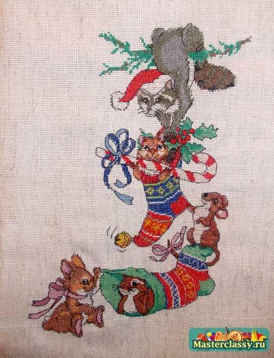 Вышивка рождественских носков
