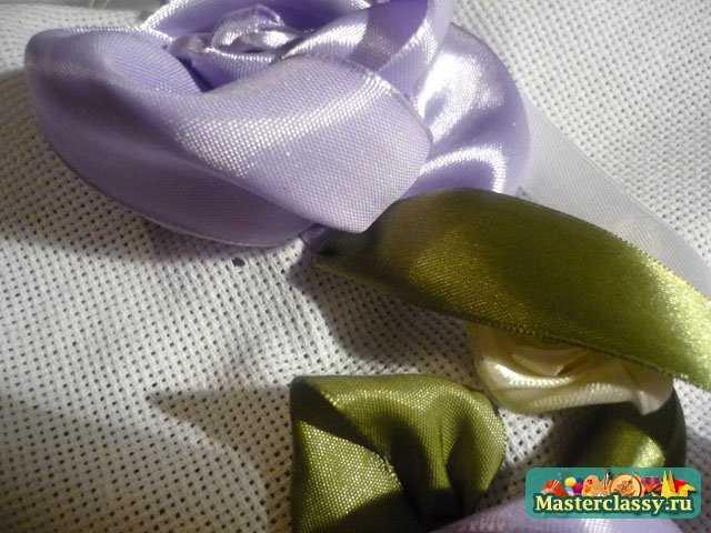 вышивка лентами розы из лент мастер класс