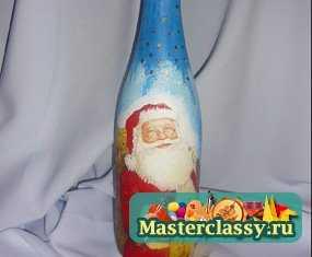 Новогодний декупаж. Декорирование бутылки шампанского. Мастер класс