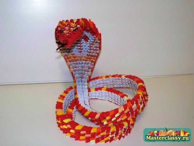 Кобра из оригами схема