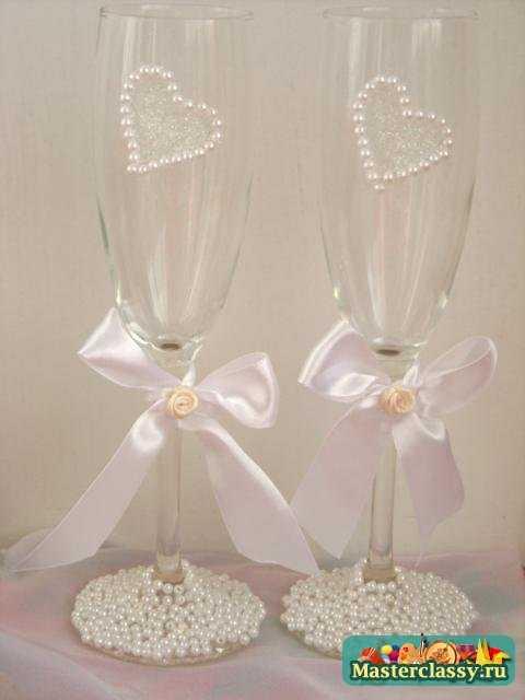 Как сделать бокалы на свадьбу своими руками фото пошагово