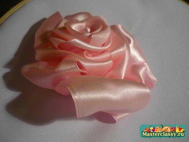 роза из лент мастер класс