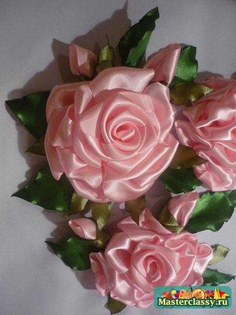 Вышивка розы из атласной ленты мастер класс
