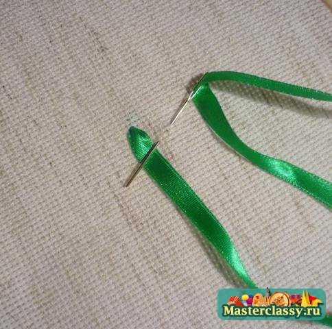 вышивка лентами мастер класс листья