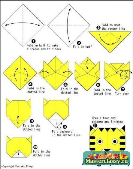 Тигр из бумаги. Мордочка оригами