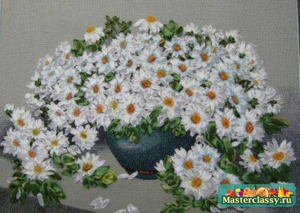 вышивка лентами цветы мастер класс фото