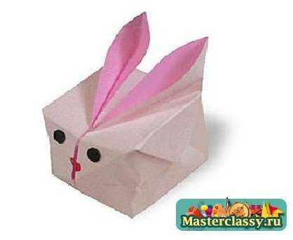 Поделка заяц из бумаги. Схема оригами