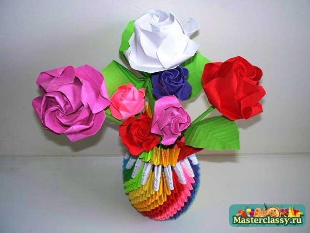 Букет роз оригами