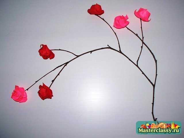 Кустовая роза оригами