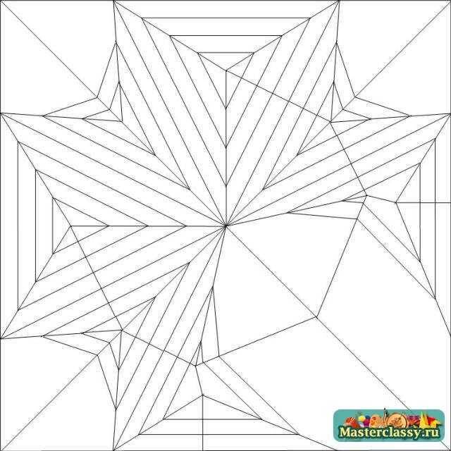 Схема тройного листа оригами для распечатывания