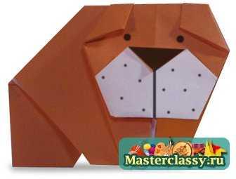 Бульдог из бумаги. Схема оригами