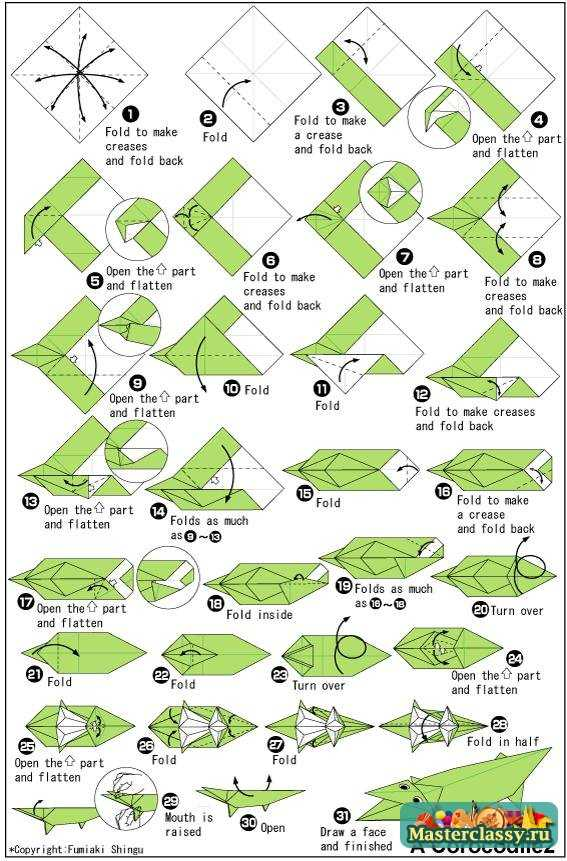 Как из бумаги сделать крокодила