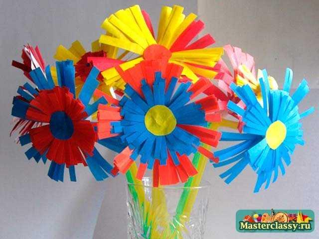 Цветы из бумаги своими руками мастер класс с детьми фото 379