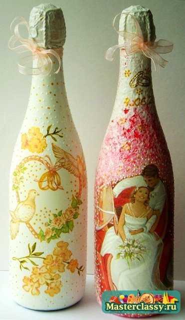 декупаж бутылки шампанского 3